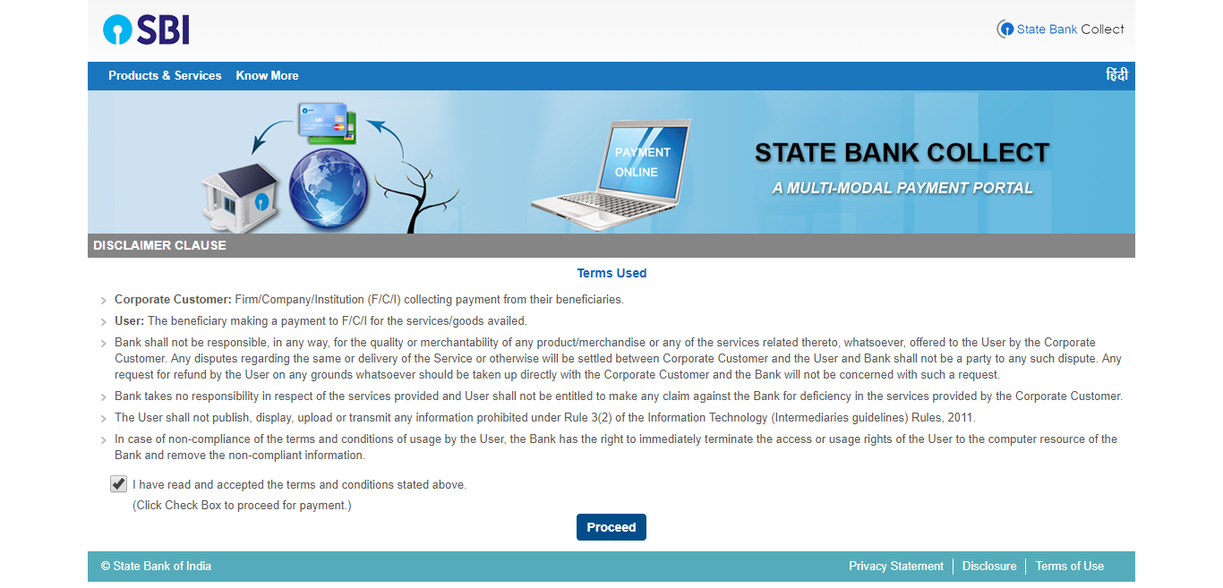 SBI Bank Collect - Step 1